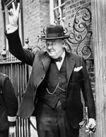 UK Prime Minister Winston Churchill in Downing Street, London, England, United Kingdom, 5 Jun 1943; he had just returned from the US after a meeting with Roosevelt