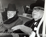 Winston Churchill and Bernard Baruch in a car in the United States, 14 Apr 1961