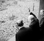 Churchill waving to crowds at Whitehall, London, England, United Kingdom on the day he announced the war with Germany had been won, 8 May 1945
