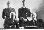 Winston Churchill, Franklin Roosevelt, Hastings Ismay, and Louis Mountbatten at Churchill