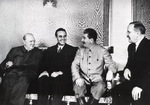 Winston Churchill, W. Averell Harriman, Joseph Stalin, and Vyacheslav Molotov at Fourth Moscow Conference, Russia, Oct 1944, photo 2 of 2