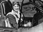 Jackie Cochran in the cockpit of P-40 Warhawk fighter, circa 1942-1945