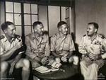 Members of the Australian Mission Group at the Japanese surrender talks, Japan, 20 Aug 1945; left to right: Cdre John Collins, Lt Gen Frank Berryman, Capt Roy Dowling, Air Cdre Raymond Brownell