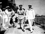Cunningham and Major General Freyberg aboard HMS Phoebe off Crete, May 1941