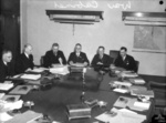 Members of the Commonwealth War Cabinet meeting in the War Cabinet Room, 1st Floor A Block New Wing, Victoria Barracks, Melbourne, Australia, 10 Nov 1943; L to R: Curtin, Sheddon, Chifley, Makin, Drakeford, and Dedman