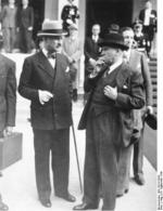 Prime Minister Daladier and Ambassador Francois-Poncet speaking during a break, Munich Conference, Germany, 30 Sep 1938