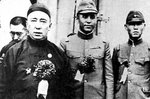 Chairman Demchugdongrub of the Mengjiang puppet government with Li Shouxin and a Japanese officer, Inner Mongolia region of China, date unknown