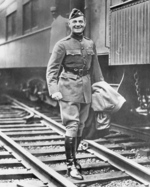 William Donovan in uniform at a rail station, 1918