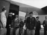 Eleanor Roosevelt arriving in Rockhampton, Queensland, Australia, 9 Sep 1943, welcomed by Lieutenant General Robert Eichelberger and other officers