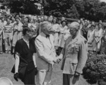 US President Harry Truman decorating General Dwight Eisenhower with the Distinguished Service Medal, Washington DC, United States, 18 Jun 1945, photo 6 of 6