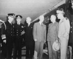 William Leahy, Harold Stark, James Byrnes, Charles Sawyer, Harry Truman, and Dwight Eisenhower at Antwerp, Belgium, 15 Jul 1945