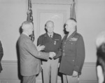 US President Harry Truman, General Dwight Eisenhower, and General Omar Bradley at the Pentagon building moment after Bradley had been sworn in as the Chief of Staff of the US Army, Virginia, United States, 7 Feb 1948