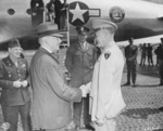 US Secretary of War Henry Stimson and General Dwight Eisenhower, Frankfurt, Germany, 27 Jul 1945
