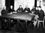 Bradley, Ramsay, Tedder, Eisenhower, Montgomery, Leigh-Mallory, and Smith at a SHAEF conference in London, England, United Kingdom, 1 Feb 1944, photo 1 of 7