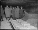 US Generals Eisenhower, Bradley, and Eddy and Colonel Bernard Bernstein touring the Merkers salt mine in which treasures were stored, 12 Apr 1945