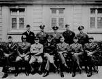 Front: Simpson, Patton, Spaatz, Eisenhower, Bradley, Hodges, Gerow. Back: Stearley, Vandenburg, Smith, Weiland, and Nugent. 12th Army Group Headquarters Bad Wildungen, Germany, 11 May 1945