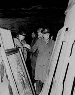 Bradley, Patton, and Eisenhower inspected artwork hidden in the Merkers salt mine, Germany, 12 Apr 1945