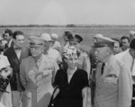 Dwight Eisenhower, Mamie Eisenhower, and George Marshall, Washington National Airport, Arlington, Virginia, United States, 18 Jun 1945, photo 2 of 2