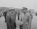 US President Harry Truman and General Dwight Eisenhower, Washington National Airport, Arlington, Virginia, United States, 18 Jun 1945, photo 1 of 2