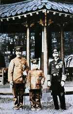 Emperor Sunjong of Korea, Prince Imperial Yeong of Korea, and Crown Prince Yoshihito (future Emperor Taisho) of Japan in Korea, 1907