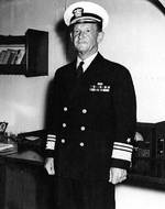 US Navy Vice Admiral Frank Fletcher aboard USS Saratoga, 17 Sep 1942