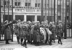 Coffin of Ernst Udet being carried after the funeral service, 21 Nov 1941; note Adolf Galland serving as a honor guard