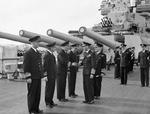 British admirals Irvine Glennie, Louis Hamilton, Robert Burnett (shaking hand), and Henry Moore with King George VI and Admiral Bruce Fraser of the United Kingdom aboard HMS Duke of York, Scapa Flow, Scotland, United Kingdom, 16 Aug 1943