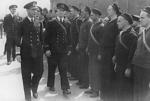 King George VI of the United Kingdom inspecting the crew of Norwegian destroyer Draug, Portsmouth, England, United Kingdom, May 1940