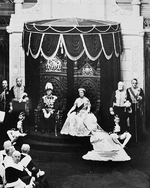 King George VI and Queen Elizabeth of the United Kingdom giving Royal Assent at the Senate Chamber in Ottawa, Ontario, Canada, 1939; note Mackenzie King next to King George VI
