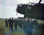 King George VI visiting men of No. 617 Squadron RAF at Scampton, England, United Kingdom, 27 May 1943; note Lancaster B Mk I bomber