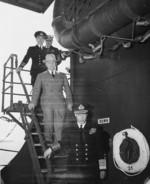 US President Harry Truman and King George VI of the United Kingdom aboard USS Augusta, Plymouth, England, United Kingdom, 2 Aug 1945, photo 1 of 2