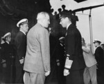 US President Harry Truman and King George VI of the United Kingdom aboard USS Augusta, Plymouth, England, United Kingdom, 2 Aug 1945, photo 2 of 2