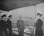 King George VI of the United Kingdom and US President Harry Truman aboard HMS Renown, Plymouth, England, United Kingdom, 2 Aug 1945; note USS Augusta in background