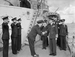 Rear Admiral Robert Burnett greeting King George VI of the United Kingdom aboard HMS Belfast, Scapa Flow, Scotland, United Kingdom, 15 Aug 1943