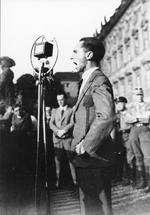 Joseph Goebbels speaking at an assembly against the outcome of the Conference of Lausanne, Berlin, Germany, Jul 1932