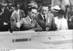 Minister of Propaganda Joseph Goebbels and Commissioner of Architecture Hans Schweitzer-Mjölnir at an exhibition during the 1936 Summer Olympic Games, Berlin, Germany, Jul 1936