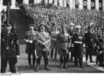 Colonel General Hermann Göring, Colonel General Werner von Fritsch, and Admiral Erich Raeder at a Nazi rally in Nürnberg, Germany, 8-14 Sep 1936