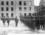 Göring reviewing a Luftwaffe formation at the courtyard of the Reich Aviation Ministry, Berlin, Germany, 16 Mar 1937
