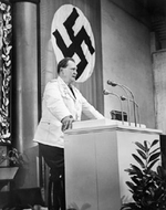 Hermann Göring speaking to the Reichstag in Berlin, Germany, circa 1932-1933