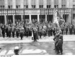 Luftwaffe Day parade in front of Reich Air Ministry building on Wilhelmstraße, Berlin, Germany, 1 Mar 1938; note Göring, Christiansen, Lutze, Rust, Brauchitsch, Milch, and Raeder in attendance