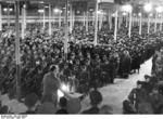 Greiser speaking at a ceremony that celebrated reaching one million German resettlers in Wartheland, Posen, Germany, 16 Mar 1944
