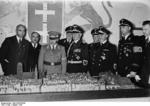 Gauleiter Erich Koch, Govt Secretary Landfried, Govt Secretary Pfundtner, and Danzig Senate President Arthur Greiser inspecting a model of Königsberg while visting that German city, 20 Aug 1939
