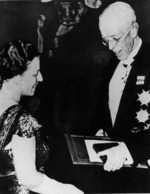 Author Pearl Buck receiving the Nobel Prize for Literature from King Gustaf V, Stockholm Concert Hall, Sweden, 10 Dec 1938