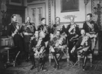Nine European monarchs gathering at Windsor Castle for the funeral of King Edward VII, Berkshire, England, United Kingdom, 20 May 1910