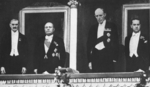 Neville Chamberlain, Benito Mussolini, Lord Halifax, and Count Ciano at an opera in Rome, Jan 1939