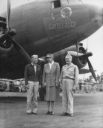 Lieutenant General Millard Harmon, First Lady Eleanor Roosevelt, and Admiral William Halsey in New Caledonia, 14 Sep 1943