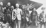 He Yingqin with the Chinese air crew which had just completed a leaflet dropping mission over Japan, 1938