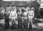 An unidentified Chinese officer, General Robert B. McClure, General He Yingqin, General Zhang Fakui, and General Harwood Bowman at Bowman