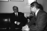 NATO Military Committee chairman General Heusinger meeting with US Secretary of Defense McNamara at the Pentagon, Arlington, Virginia, United States, 28 Feb 1964
