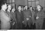 Rudolf Heß, Heinrich Himmler, Philipp Bouhler, Fritz Todt, Reinhard Heydrich and Erich Ehrlinger meeting in Berlin, Germany to discuss plans to settle Eastern Europe, 20 Mar 1941